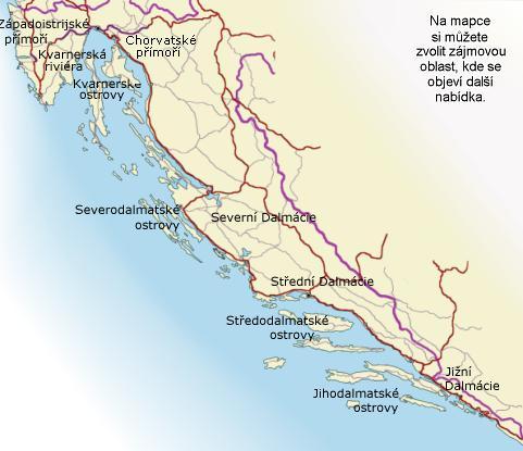 Jadran - pobřeží, zde můžete vybrat zájmovou oblast